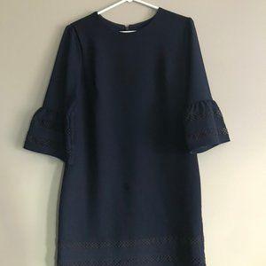 Navy Bell-Sleeved Shift Dress